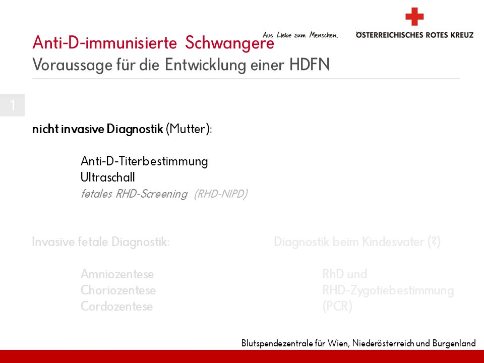 Blutspendezentrale für Wien, Niederösterreich und Burgenland Anti-D-immunisierte Schwangere Voraussage für die Entwicklung einer HDFN nicht invasive D