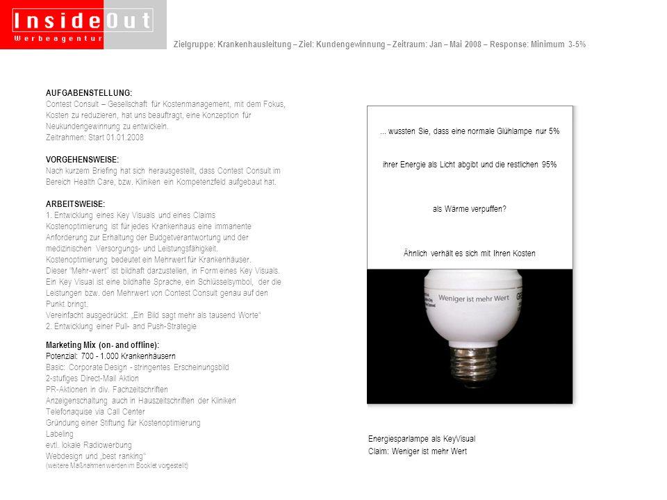 Dose mit Adressaufkleber, Inhalt: Energiesparlampe, Antwortkarte Antwortkarte Für Terminwunsch Anschreiben Antwortkarte Rückseite Zielgruppe: Krankenhausleitung – Ziel: Kundengewinnung – 1tes Mailing – Response: Minimum 3-5%