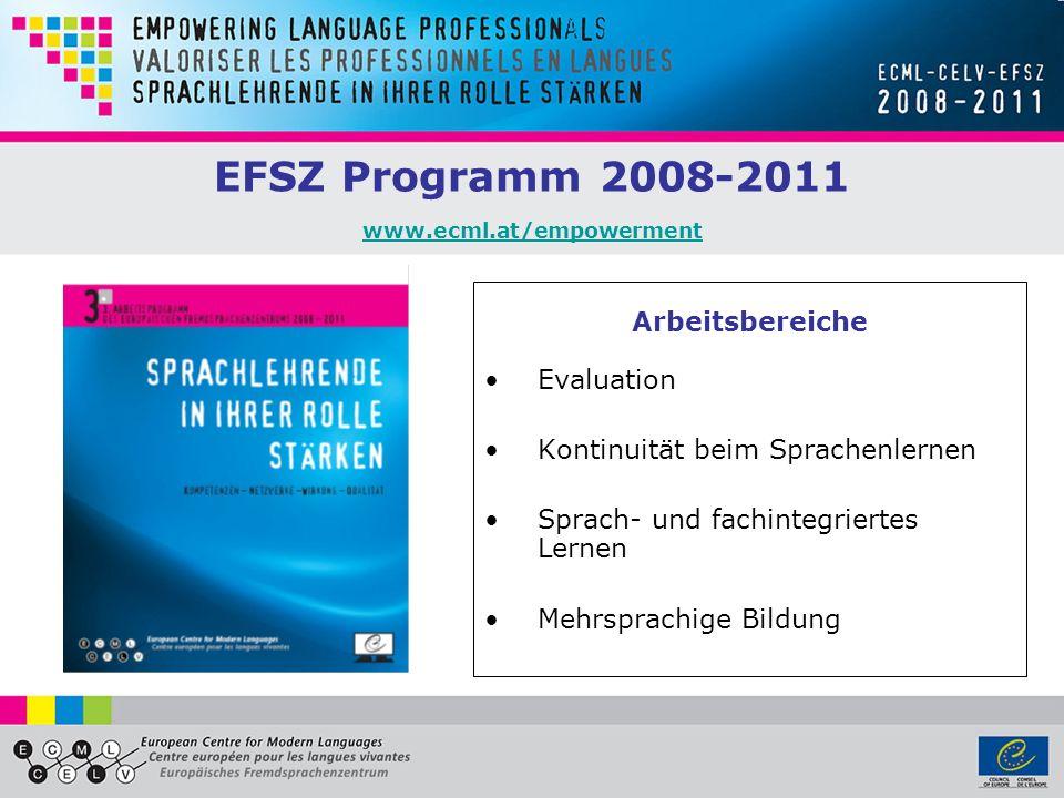 EFSZ Programm 2008-2011 www.ecml.at/empowerment www.ecml.at/empowerment Arbeitsbereiche Evaluation Kontinuität beim Sprachenlernen Sprach- und fachint
