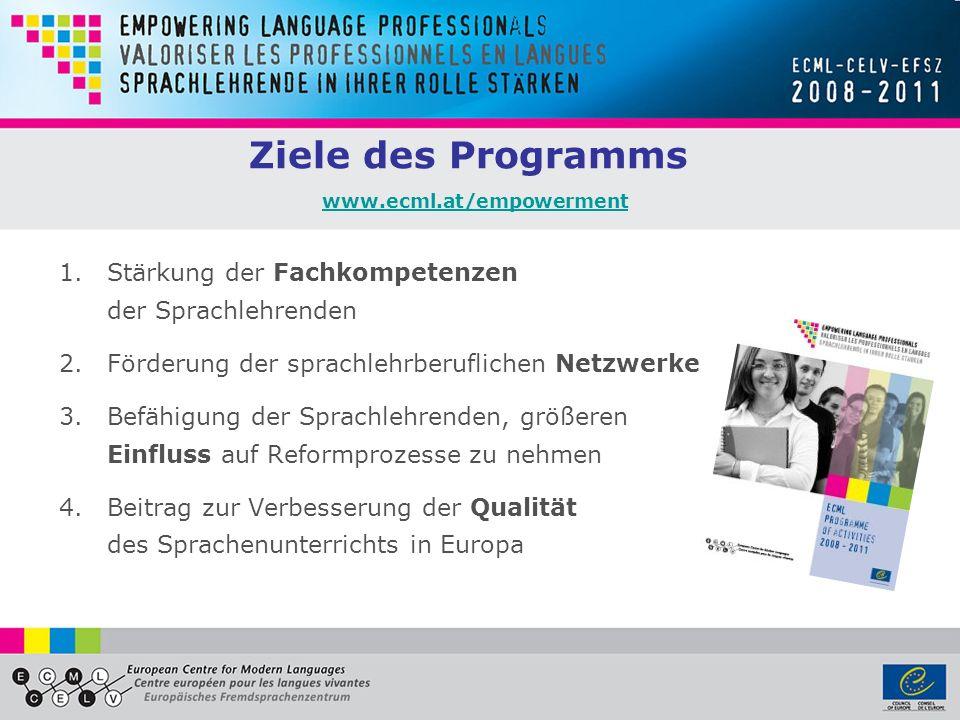 Ziele des Programms www.ecml.at/empowerment www.ecml.at/empowerment 1.Stärkung der Fachkompetenzen der Sprachlehrenden 2.Förderung der sprachlehrberuflichen Netzwerke 3.Befähigung der Sprachlehrenden, größeren Einfluss auf Reformprozesse zu nehmen 4.Beitrag zur Verbesserung der Qualität des Sprachenunterrichts in Europa