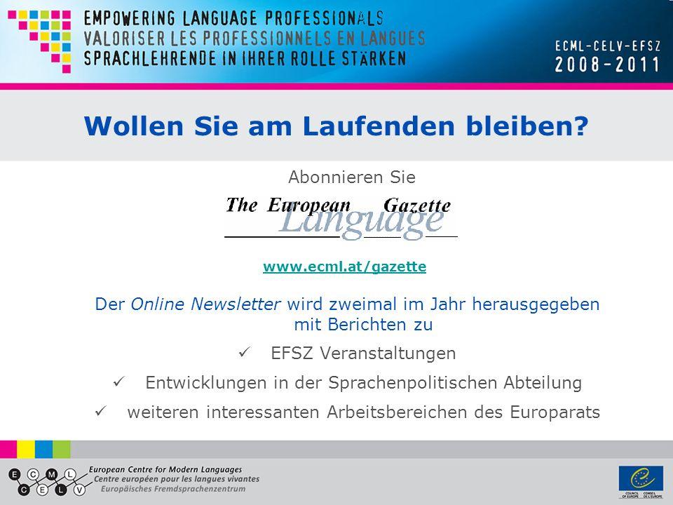 Wollen Sie am Laufenden bleiben? Der Online Newsletter wird zweimal im Jahr herausgegeben mit Berichten zu EFSZ Veranstaltungen Entwicklungen in der S