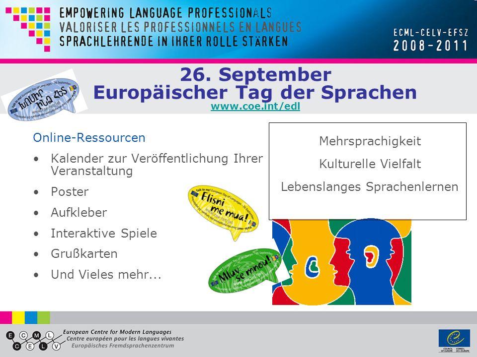 Gegründet 1994 in Graz, Österreich Erweitertes Teilabkommen des Europarats 34 Mitgliedsstaaten Europäisches Fremdsprachenzentrum www.ecml.at Umsetzung von Sprachenpolitik durch: Verbreitung von guten Praxisbeispielen Förderung von Innovationen Fortbildung von MulitplikatorInnen Entwicklung von ExpertInnen-Netzwerken