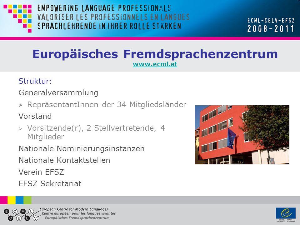 Europäisches Fremdsprachenzentrum www.ecml.at www.ecml.at Struktur: Generalversammlung RepräsentantInnen der 34 Mitgliedsländer Vorstand Vorsitzende(r