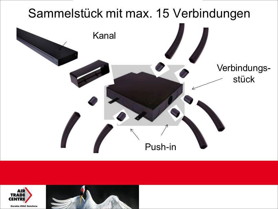 Sammelstück mit max. 15 Verbindungen Kanal Verbindungs- stück Push-in