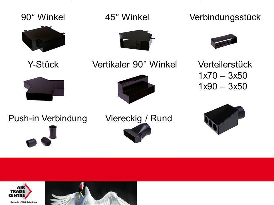 90° Winkel45° Winkel Y-StückVertikaler 90° Winkel Verbindungsstück Push-in VerbindungViereckig / Rund Verteilerstück 1x70 – 3x50 1x90 – 3x50