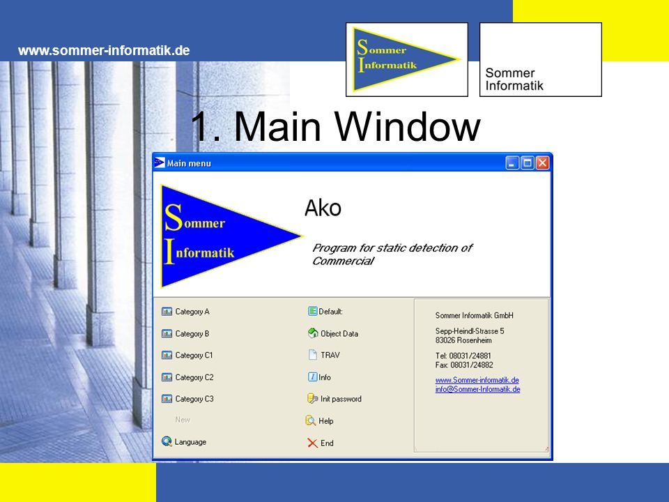 www.sommer-informatik.de 1. Main Window