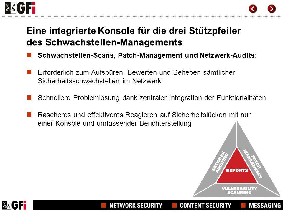 Eine integrierte Konsole für die drei Stützpfeiler des Schwachstellen-Managements Schwachstellen-Scans, Patch-Management und Netzwerk-Audits: Erforder