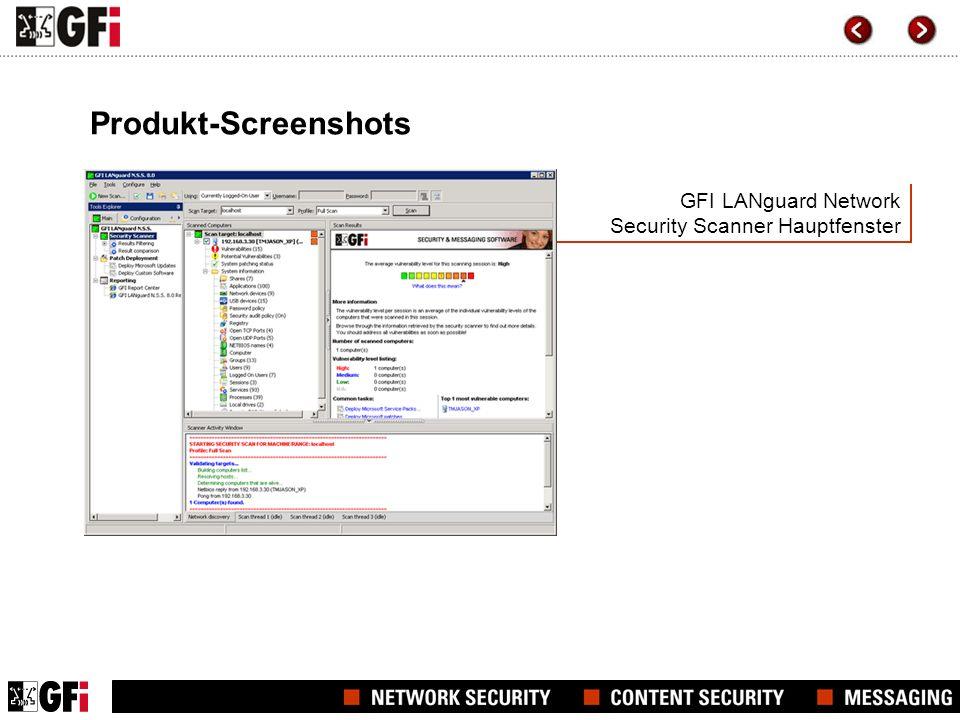 GFI LANguard Network Security Scanner Hauptfenster Produkt-Screenshots