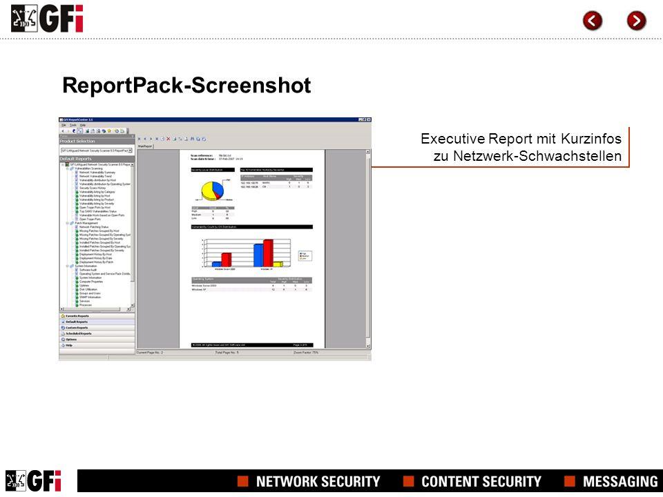Executive Report mit Kurzinfos zu Netzwerk-Schwachstellen ReportPack-Screenshot