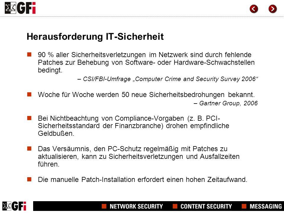 Herausforderung IT-Sicherheit 90 % aller Sicherheitsverletzungen im Netzwerk sind durch fehlende Patches zur Behebung von Software- oder Hardware-Schwachstellen bedingt.