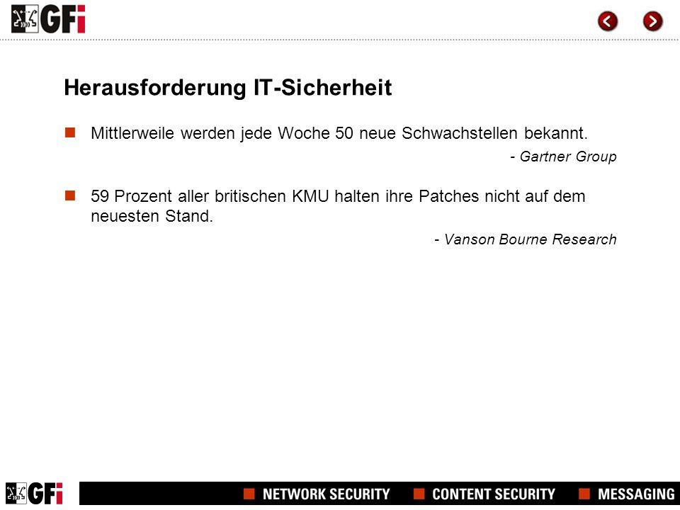 Herausforderung IT-Sicherheit Mittlerweile werden jede Woche 50 neue Schwachstellen bekannt. - Gartner Group 59 Prozent aller britischen KMU halten ih
