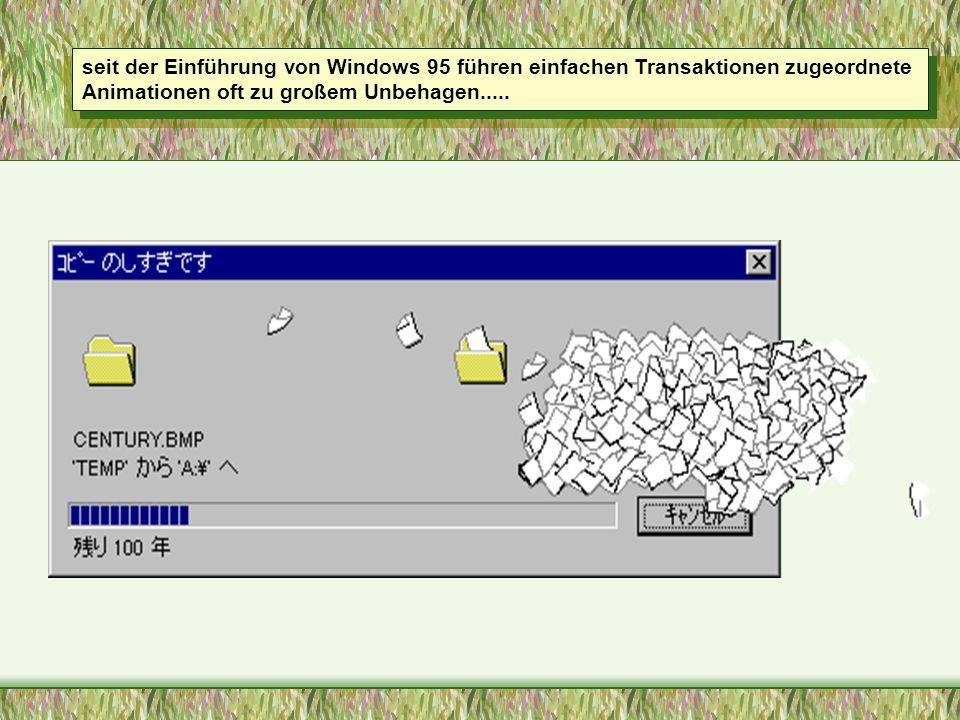 seit der Einführung von Windows 95 führen einfachen Transaktionen zugeordnete Animationen oft zu großem Unbehagen.....