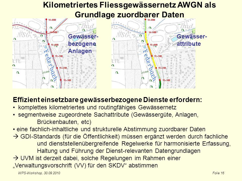 WPS-Workshop, 30.09.2010Folie 16 Kilometriertes Fliessgewässernetz AWGN als Grundlage zuordbarer Daten Effizient einsetzbare gewässerbezogene Dienste
