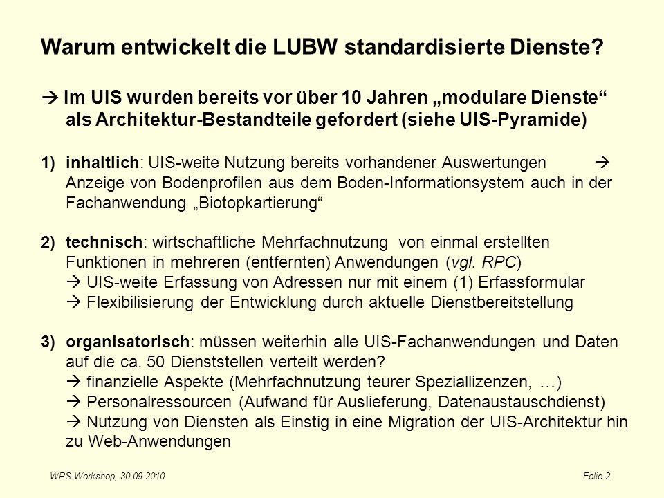 WPS-Workshop, 30.09.2010Folie 2 Warum entwickelt die LUBW standardisierte Dienste? Im UIS wurden bereits vor über 10 Jahren modulare Dienste als Archi