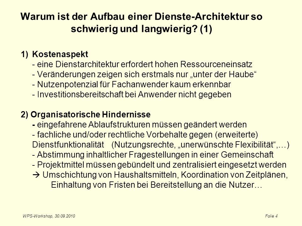 WPS-Workshop, 30.09.2010Folie 4 Warum ist der Aufbau einer Dienste-Architektur so schwierig und langwierig? (1) 1)Kostenaspekt - eine Dienstarchitektu
