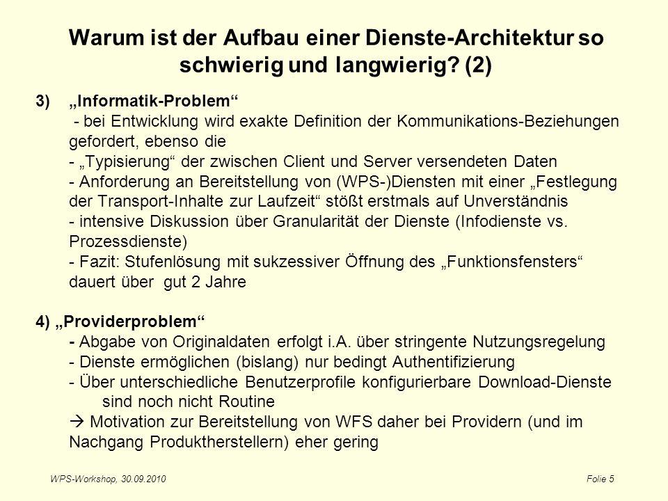 WPS-Workshop, 30.09.2010Folie 5 3)Informatik-Problem - bei Entwicklung wird exakte Definition der Kommunikations-Beziehungen gefordert, ebenso die - T