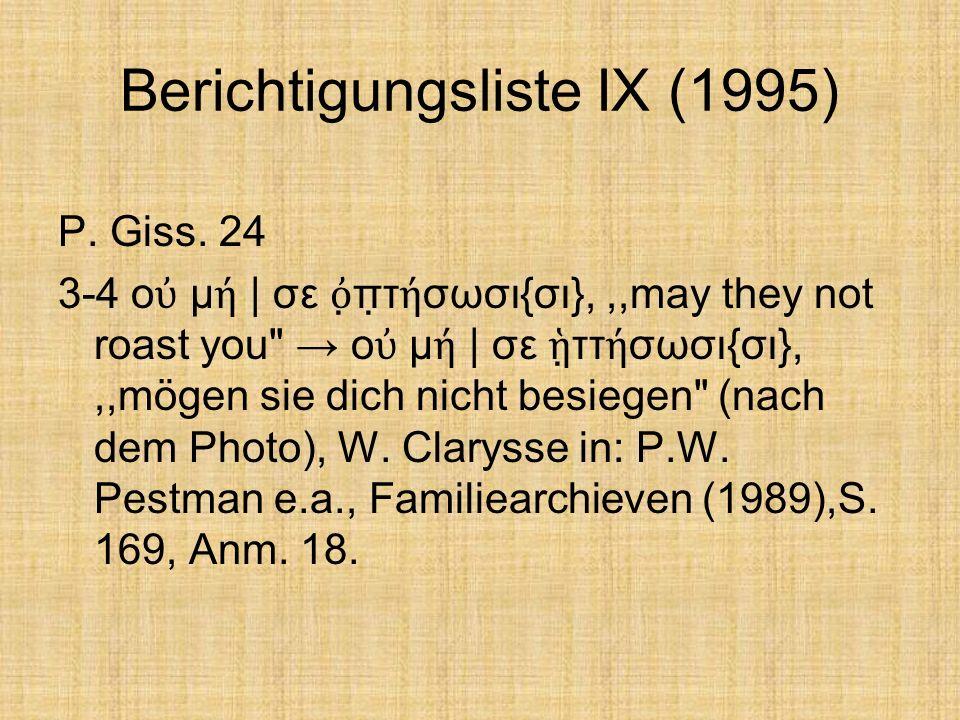 Berichtigungsliste IX (1995) P. Giss.
