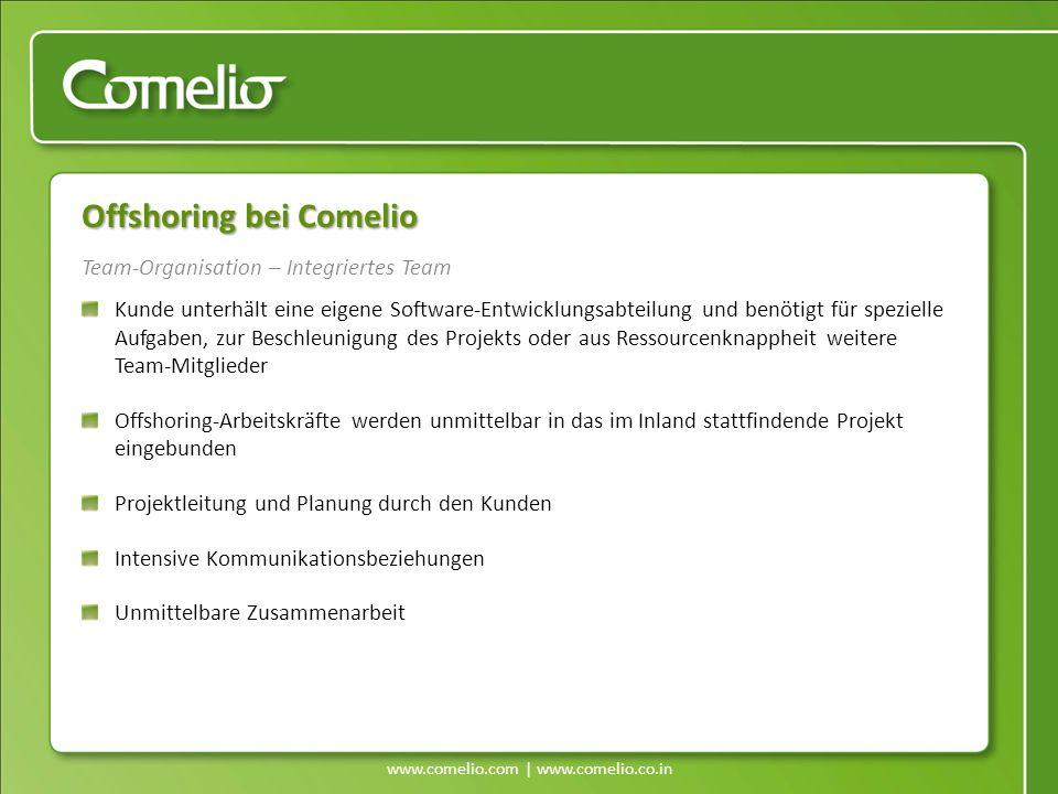 www.comelio.com | www.comelio.co.in Team-Organisation – Integriertes Team Offshoring bei Comelio Kunde unterhält eine eigene Software-Entwicklungsabte