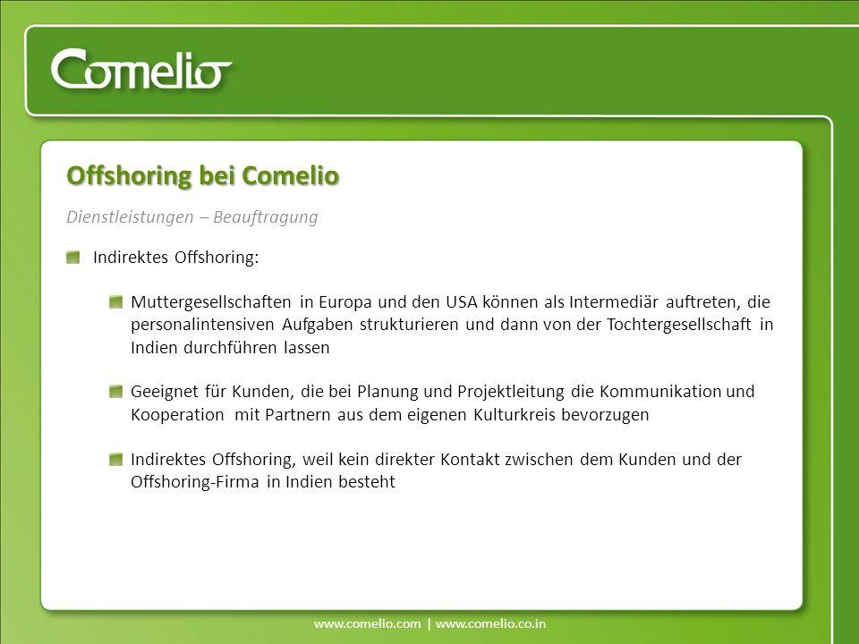www.comelio.com | www.comelio.co.in Dienstleistungen – Beauftragung Offshoring bei Comelio Indirektes Offshoring: Muttergesellschaften in Europa und d