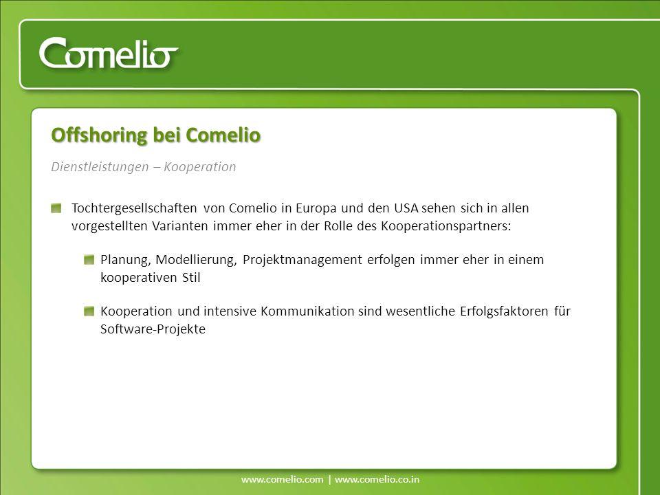 www.comelio.com | www.comelio.co.in Dienstleistungen – Kooperation Offshoring bei Comelio Tochtergesellschaften von Comelio in Europa und den USA sehe