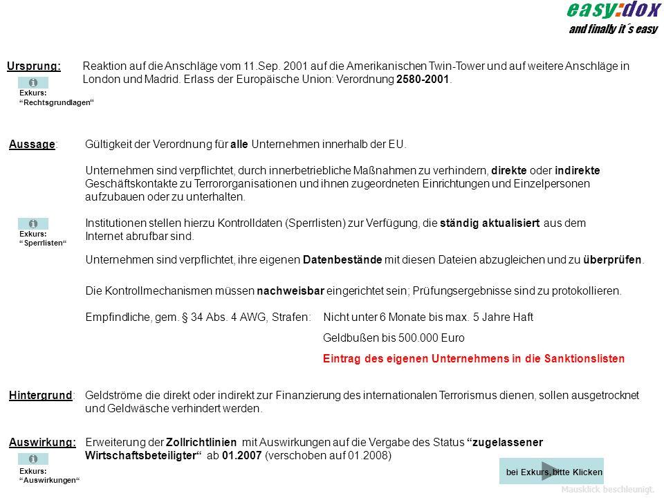 Mausklick beschleunigt. Humpert + Kneer Datensysteme Informiert über Compliance Teilbereich: EU-Verordnung 2580/2001 und 8821/2002 als Aspekt von Resp