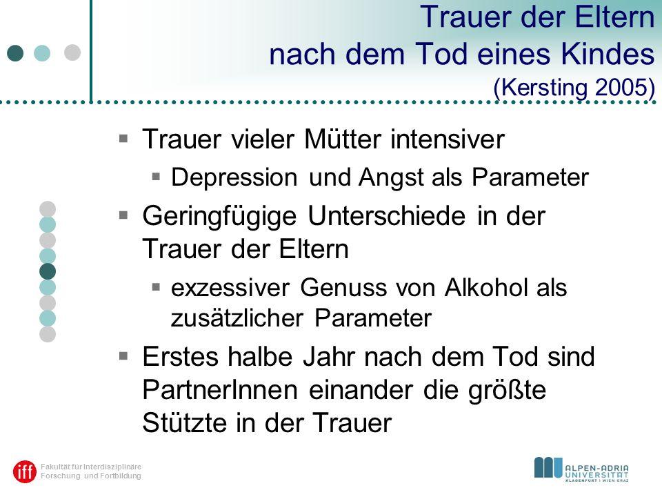 Fakultät für Interdisziplinäre Forschung und Fortbildung Trauer der Eltern nach dem Tod eines Kindes (Kersting 2005) Trauer vieler Mütter intensiver D