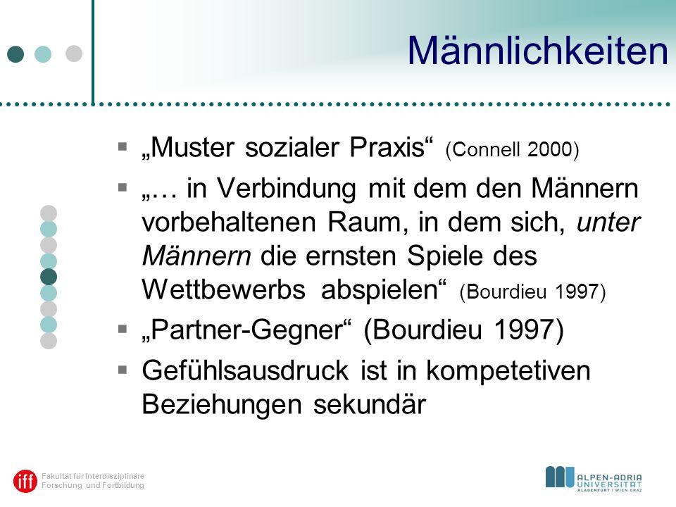 Fakultät für Interdisziplinäre Forschung und Fortbildung Männlichkeiten Muster sozialer Praxis (Connell 2000) … in Verbindung mit dem den Männern vorb