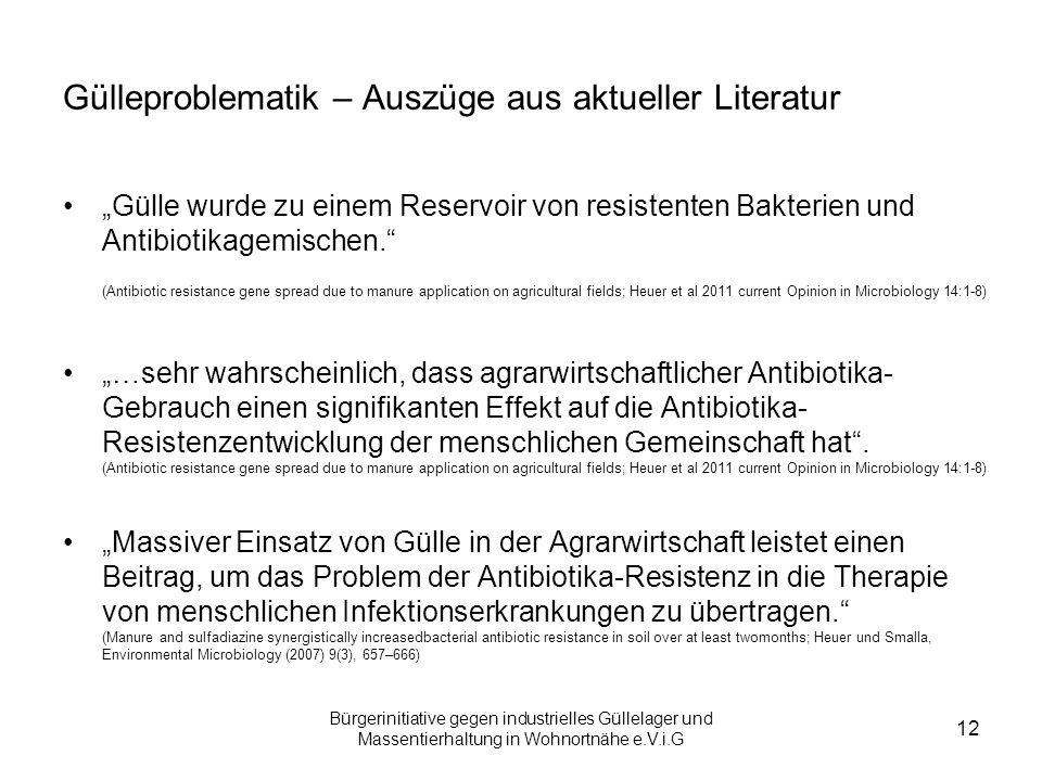Bürgerinitiative gegen industrielles Güllelager und Massentierhaltung in Wohnortnähe e.V.i.G 12 Gülleproblematik – Auszüge aus aktueller Literatur Gül