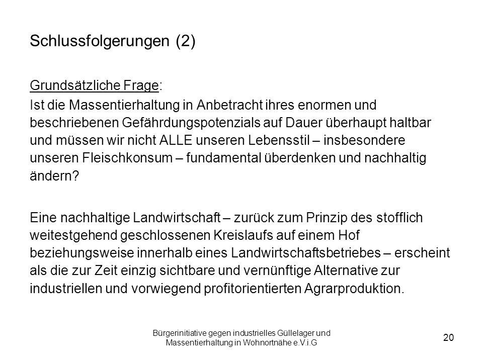 Bürgerinitiative gegen industrielles Güllelager und Massentierhaltung in Wohnortnähe e.V.i.G 20 Schlussfolgerungen (2) Grundsätzliche Frage: Ist die M