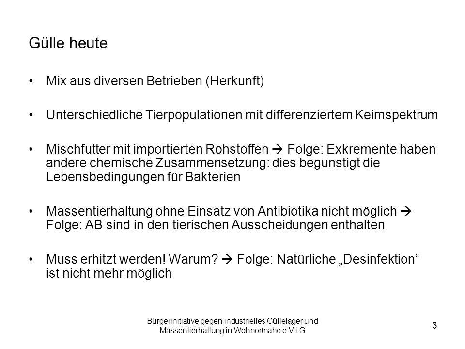 Bürgerinitiative gegen industrielles Güllelager und Massentierhaltung in Wohnortnähe e.V.i.G 3 Gülle heute Mix aus diversen Betrieben (Herkunft) Unter
