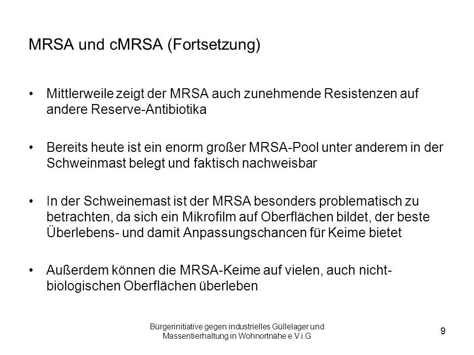 Bürgerinitiative gegen industrielles Güllelager und Massentierhaltung in Wohnortnähe e.V.i.G 9 MRSA und cMRSA (Fortsetzung) Mittlerweile zeigt der MRS