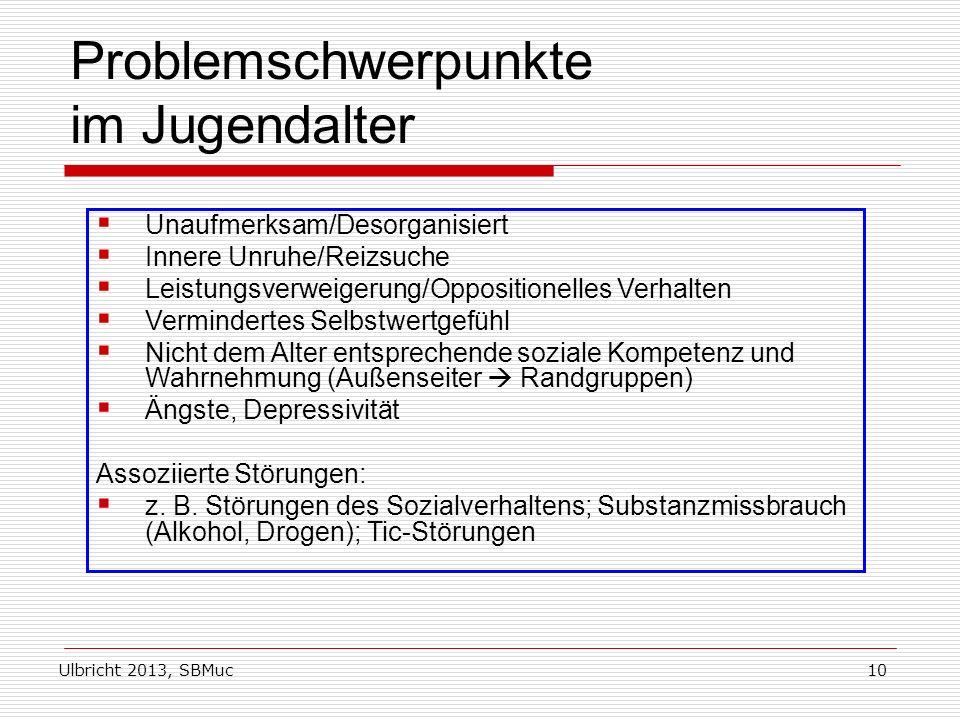 Ulbricht 2013, SBMuc10 Problemschwerpunkte im Jugendalter Unaufmerksam/Desorganisiert Innere Unruhe/Reizsuche Leistungsverweigerung/Oppositionelles Ve