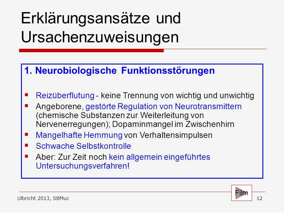 Ulbricht 2013, SBMuc12 Erklärungsansätze und Ursachenzuweisungen 1. Neurobiologische Funktionsstörungen Reizüberflutung - keine Trennung von wichtig u