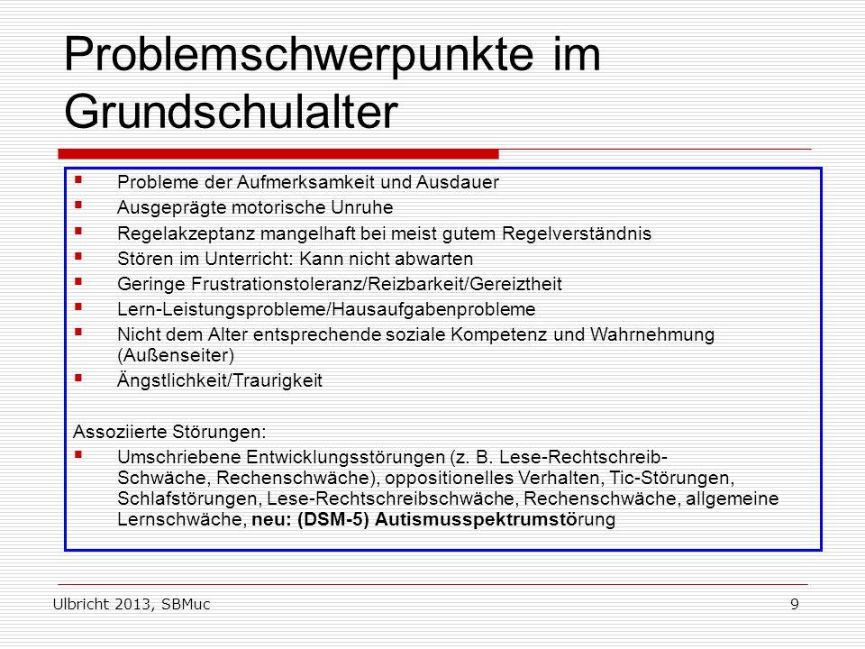 Ulbricht 2013, SBMuc9 Problemschwerpunkte im Grundschulalter Probleme der Aufmerksamkeit und Ausdauer Ausgeprägte motorische Unruhe Regelakzeptanz man
