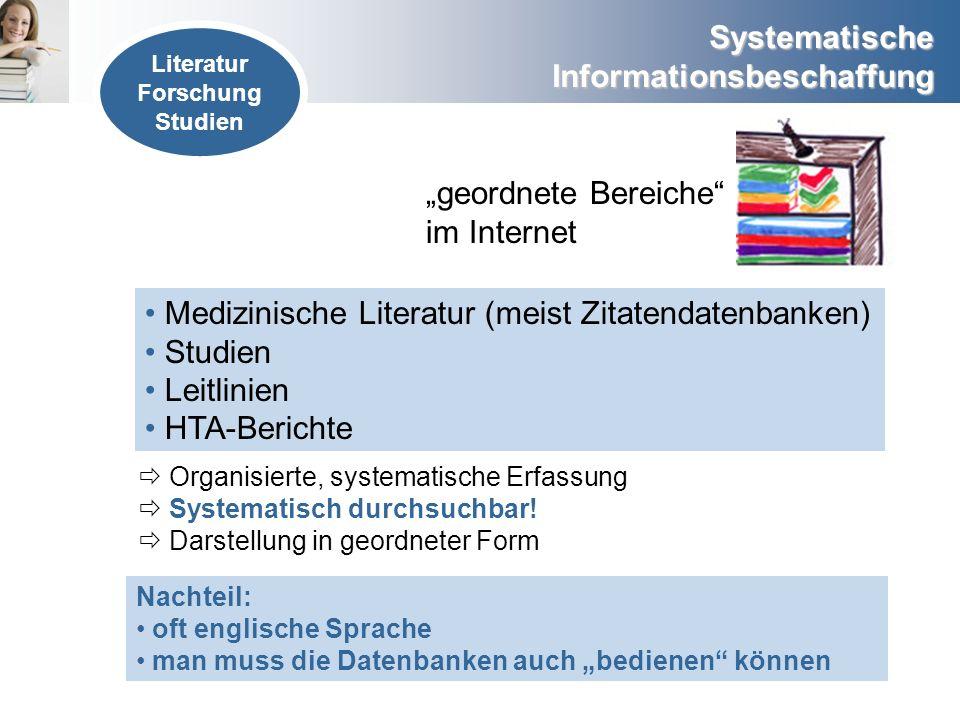 Systematische Informationsbeschaffung geordnete Bereiche im Internet Medizinische Literatur (meist Zitatendatenbanken) Studien Leitlinien HTA-Berichte
