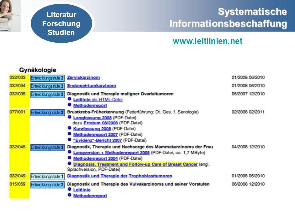 Systematische Informationsbeschaffung www.leitlinien.net Literatur Forschung Studien