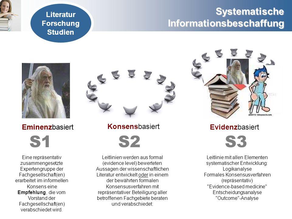 Systematische Informationsbeschaffung Literatur Forschung Studien Eminenzbasiert Konsensbasiert Evidenzbasiert S2 Leitlinien werden aus formal (eviden