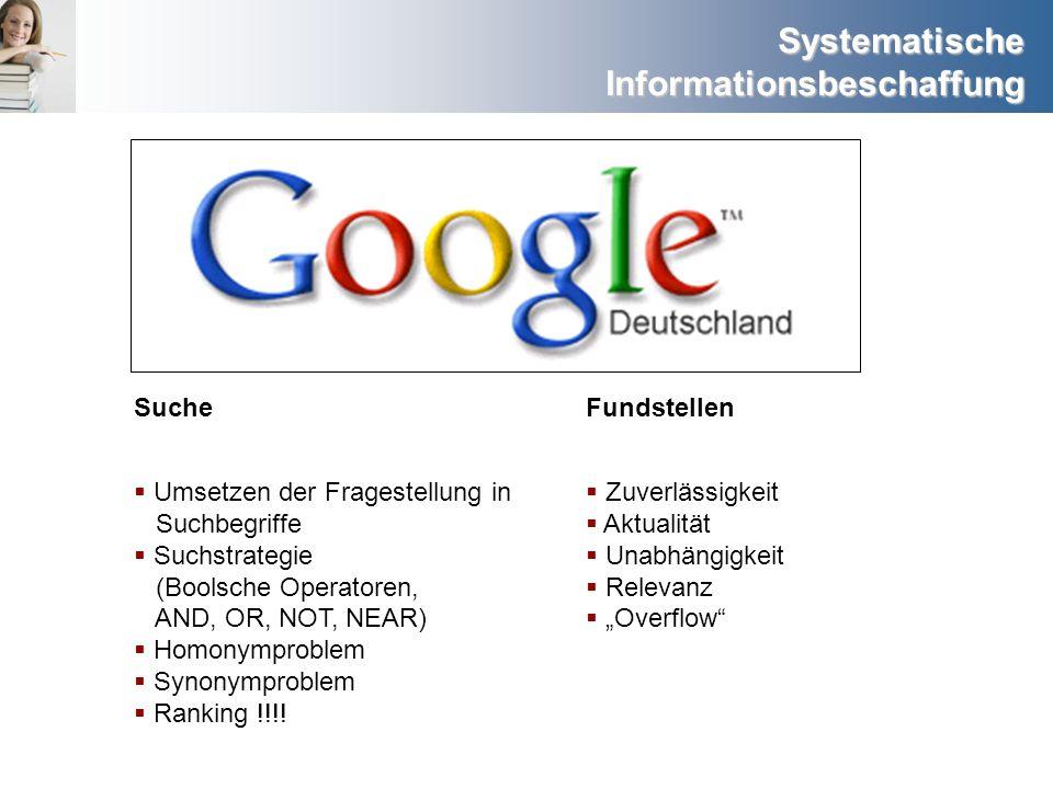 Systematische Informationsbeschaffung SucheFundstellen Umsetzen der Fragestellung in Suchbegriffe Suchstrategie (Boolsche Operatoren, AND, OR, NOT, NE