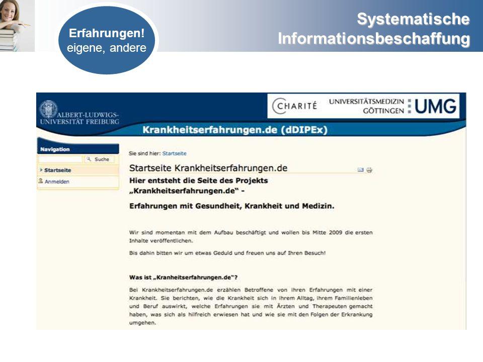 Systematische Informationsbeschaffung Literatur Forschung Studien www.ebm-netzwerk.de