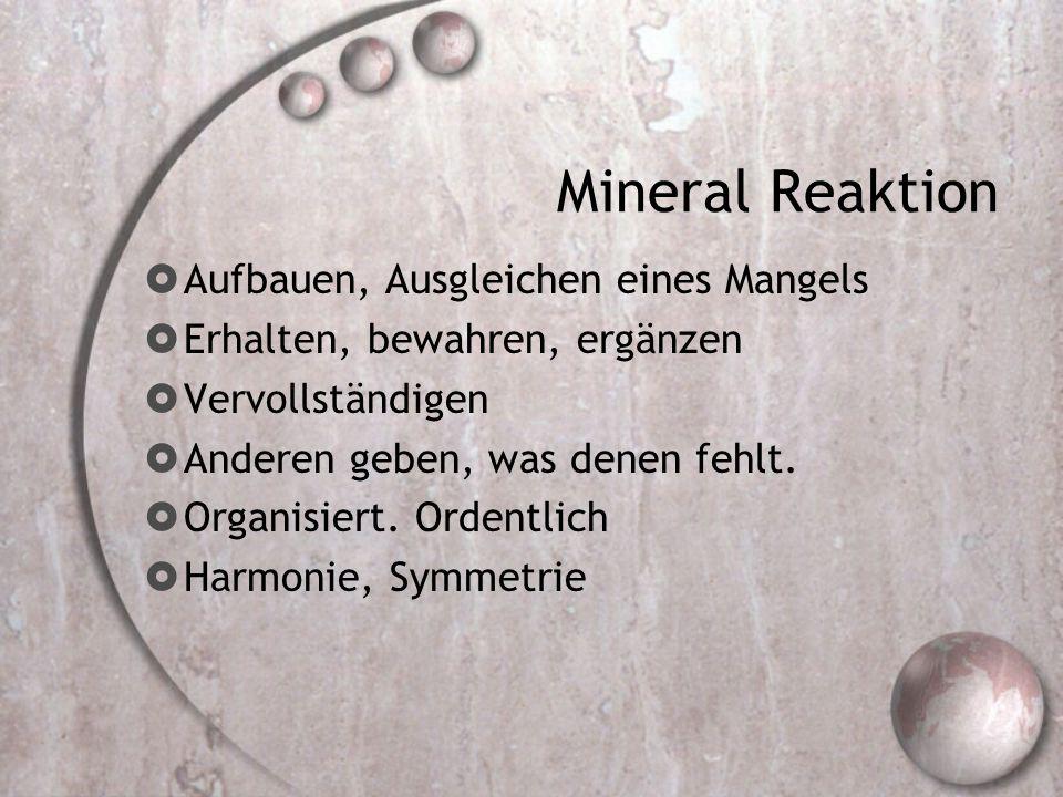 Mineral Reaktion Aufbauen, Ausgleichen eines Mangels Erhalten, bewahren, ergänzen Vervollständigen Anderen geben, was denen fehlt. Organisiert. Ordent