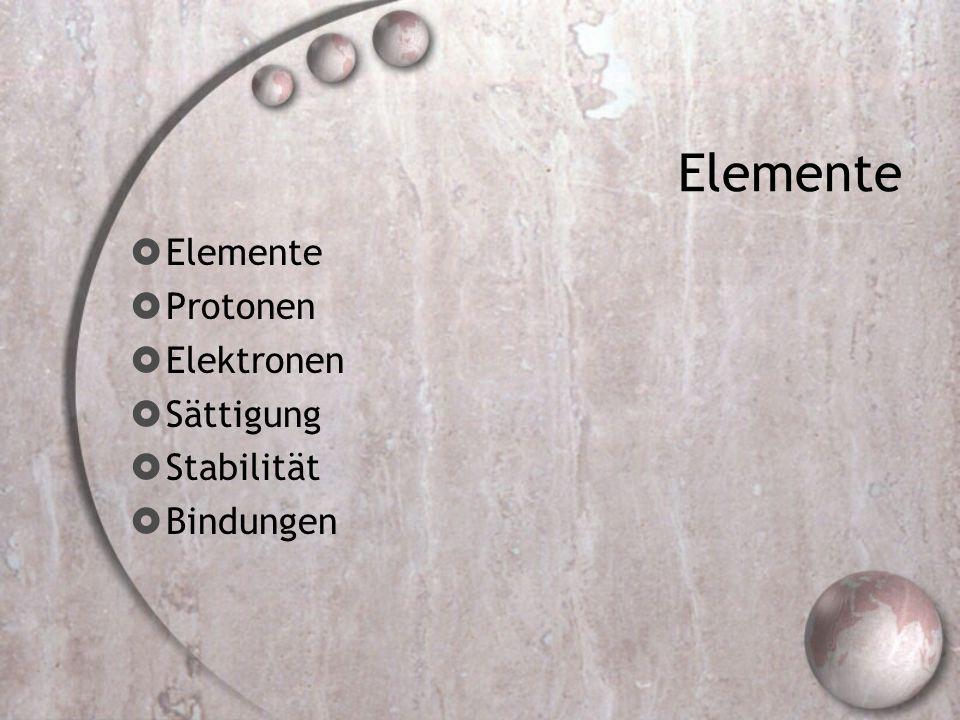 Elemente Protonen Elektronen Sättigung Stabilität Bindungen