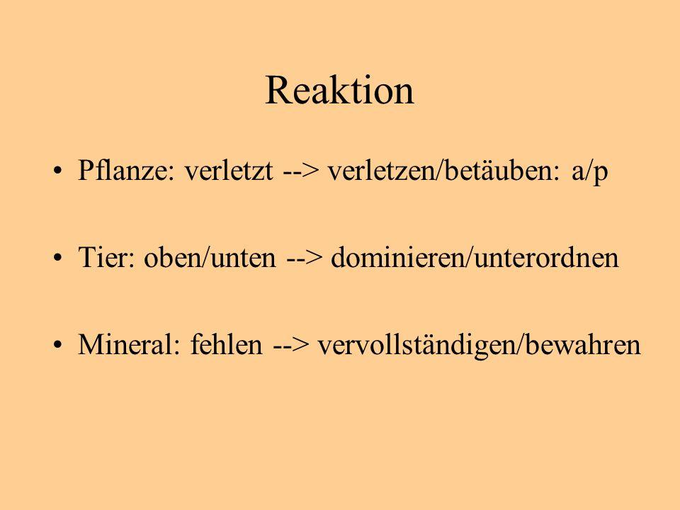 Reaktion Pflanze: verletzt --> verletzen/betäuben: a/p Tier: oben/unten --> dominieren/unterordnen Mineral: fehlen --> vervollständigen/bewahren