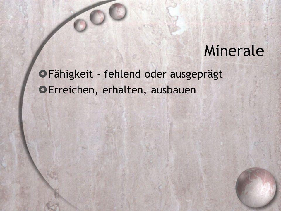 Minerale Fähigkeit - fehlend oder ausgeprägt Erreichen, erhalten, ausbauen
