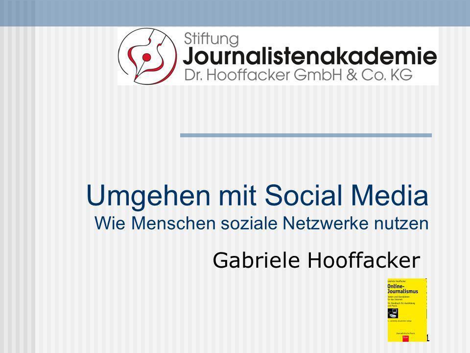 1 Umgehen mit Social Media Wie Menschen soziale Netzwerke nutzen Gabriele Hooffacker