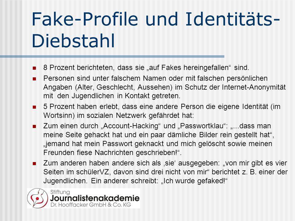 Fake-Profile und Identitäts- Diebstahl 8 Prozent berichteten, dass sie auf Fakes hereingefallen sind. Personen sind unter falschem Namen oder mit fals