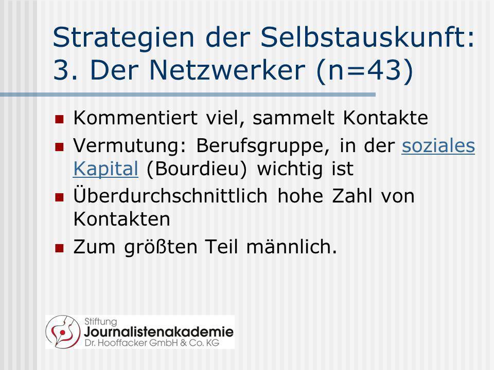 Strategien der Selbstauskunft: 3. Der Netzwerker (n=43) Kommentiert viel, sammelt Kontakte Vermutung: Berufsgruppe, in der soziales Kapital (Bourdieu)