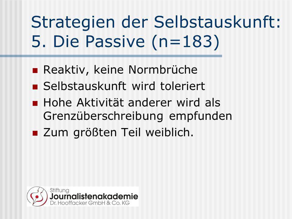 Strategien der Selbstauskunft: 5. Die Passive (n=183) Reaktiv, keine Normbrüche Selbstauskunft wird toleriert Hohe Aktivität anderer wird als Grenzübe