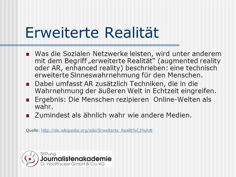 Erweiterte Realität Was die Sozialen Netzwerke leisten, wird unter anderem mit dem Begriff erweiterte Realität (augmented reality oder AR, enhanced re