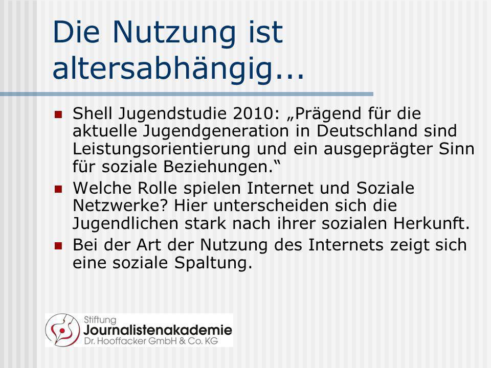 Die Nutzung ist altersabhängig... Shell Jugendstudie 2010: Prägend für die aktuelle Jugendgeneration in Deutschland sind Leistungsorientierung und ein