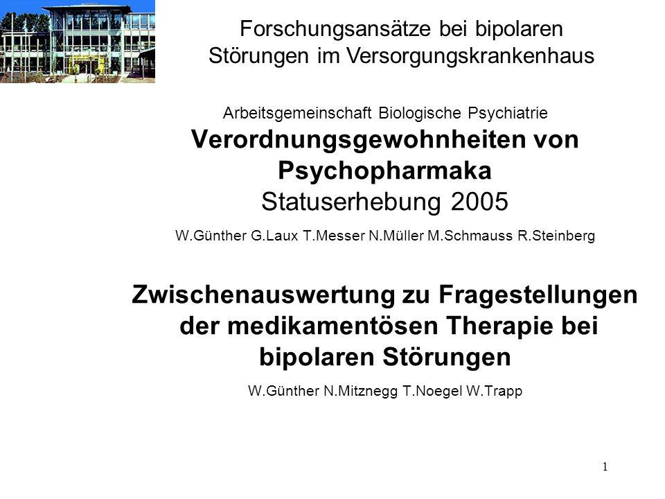 1 Arbeitsgemeinschaft Biologische Psychiatrie Verordnungsgewohnheiten von Psychopharmaka Statuserhebung 2005 W.Günther G.Laux T.Messer N.Müller M.Schm